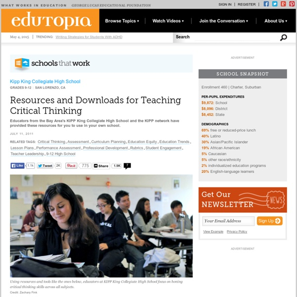 Resources and Downloads for Teaching Critical Thinking