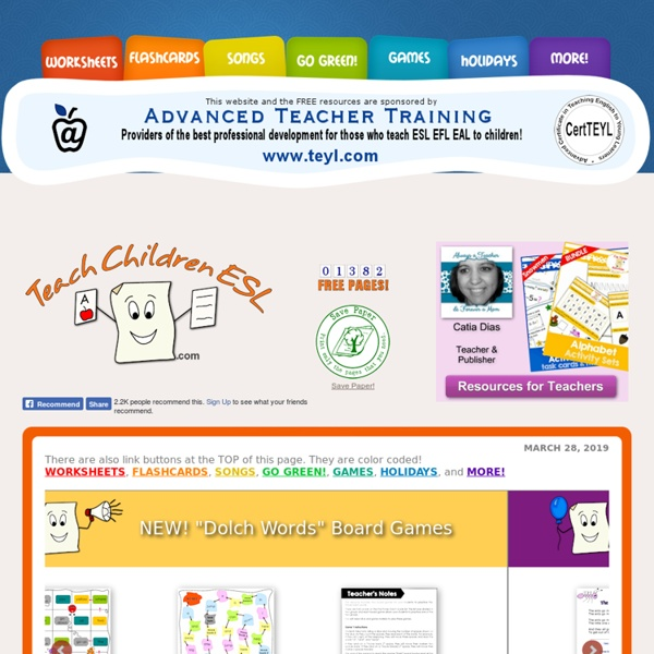 FREE ESL Resources for those who teach English to children.