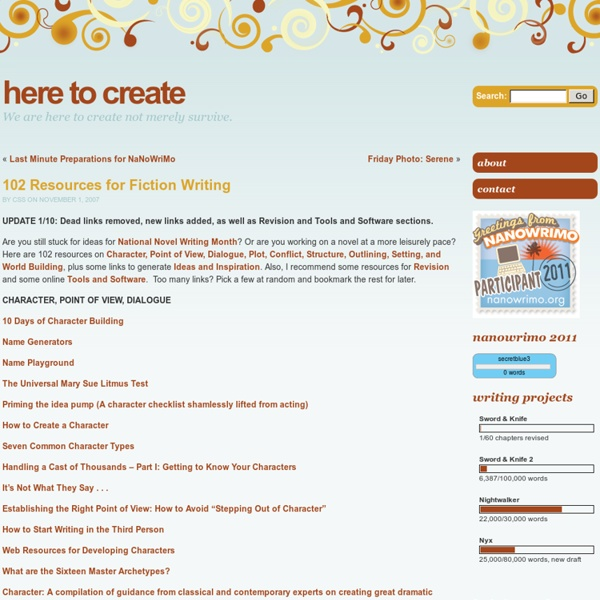 102 Resources for Fiction Writing « Here to Create