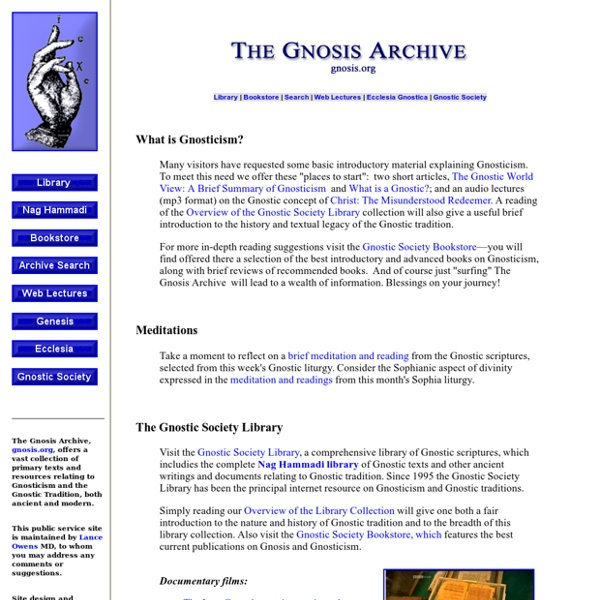 The Gnosis Archive: Resources on Gnosticism and Gnostic Tradition