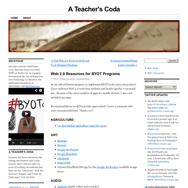 Web 2.0 Resources for BYOT Programs