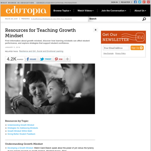 Resources for Teaching Growth Mindset