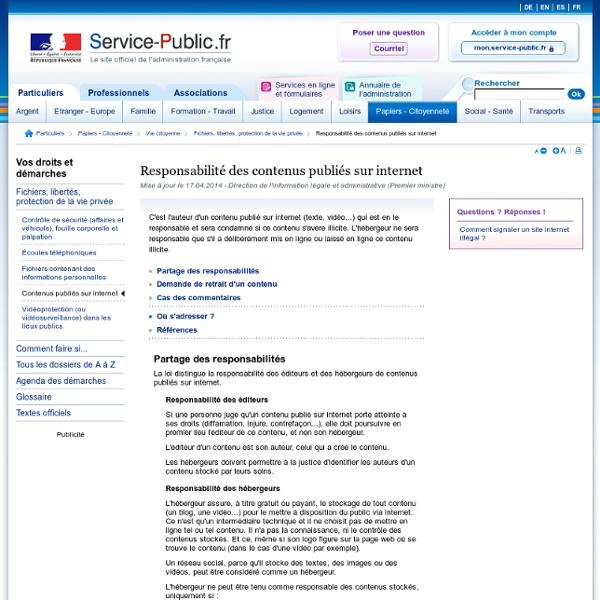 Responsabilité des contenus publiés sur internet