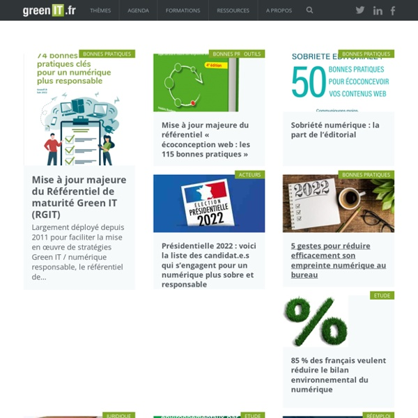 Green IT - GreenIT.fr - la communauté des acteurs de la sobriété numérique et du numérique responsable (Green IT, low-tech numérique, écoconception web et de service numérique, etc.)