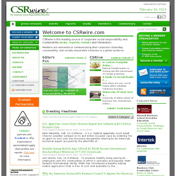 Corporate Social Responsibility and Sustainability News, Press Releases, Feeds, Events and More