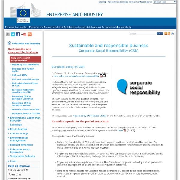 Responsabilité sociale des entreprises (RSE) - Entreprises durables et reponsables - Entreprises et industrie