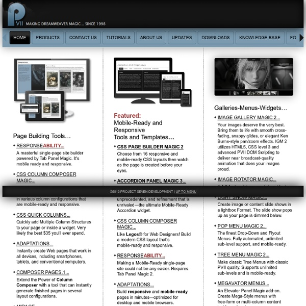 Project Seven: Dreamweaver Menus, CSS Templates, Widgets, Slide Shows, Tooltips, and More