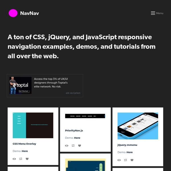NavNav - 90+ Responsive Navigation Bar Menu Tutorials, Examples, and Demos (CSS, jQuery, JavaScript)