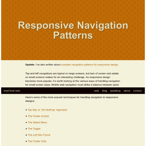 Responsive Navigation Patterns