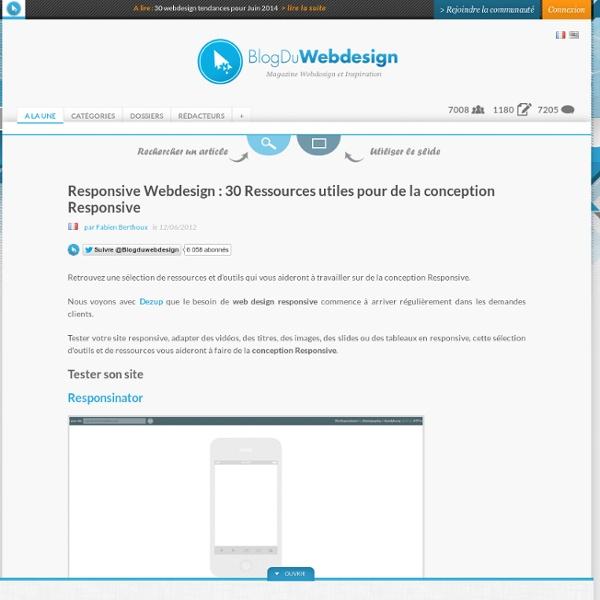 Responsive Webdesign : 30 Ressources utiles pour de la conception Responsive - responsive-webdesign