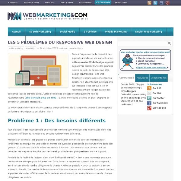 Les 5 problèmes du Responsive Web Design