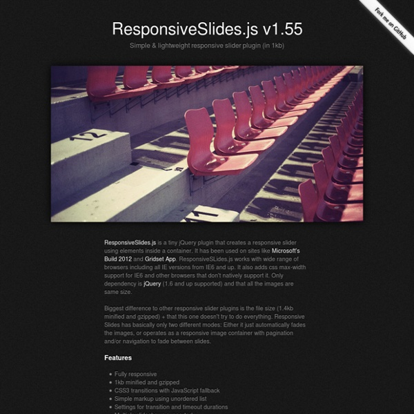 ResponsiveSlides.js · Responsive jQuery Slider & Slideshow
