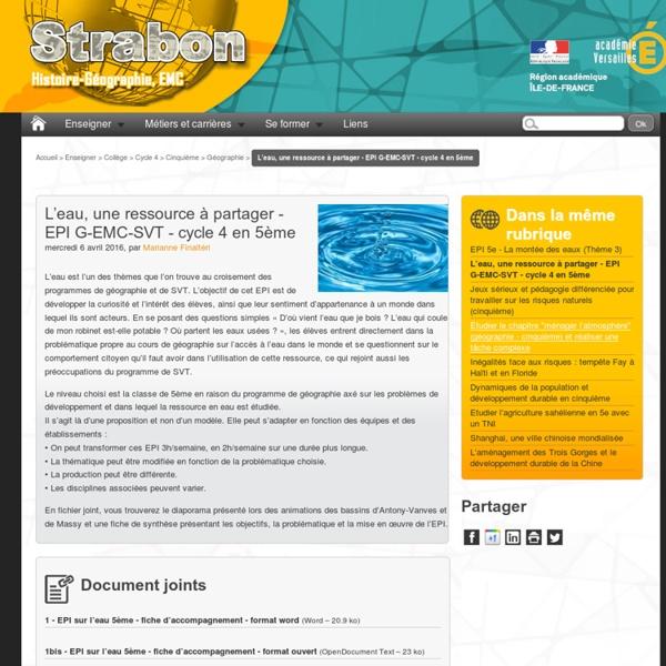 L'eau, une ressource à partager - EPI G-EMC-SVT - cycle 4 en 5ème