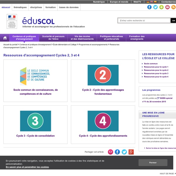 Ressources d'accompagnement Cycles 2, 3 et 4
