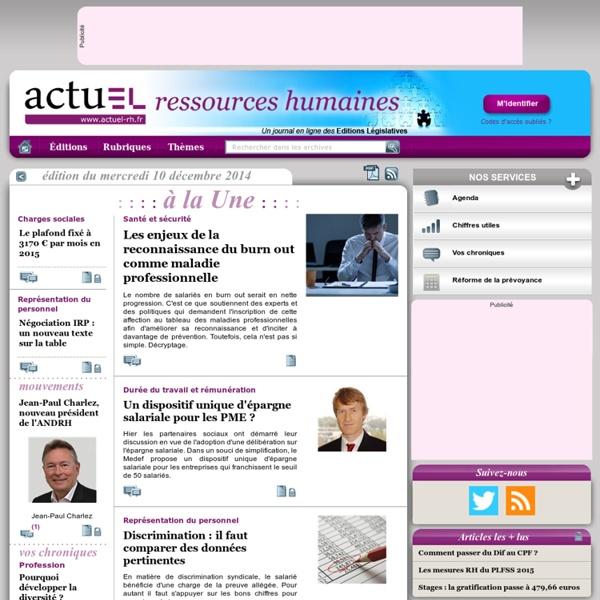 [Ressources humaines] L'actualité RH au quotidien avec actuEL-RH.fr