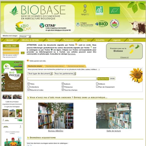 Catalogue en ligne ABioDoc - Centre National de Ressources en Agriculture Biologique