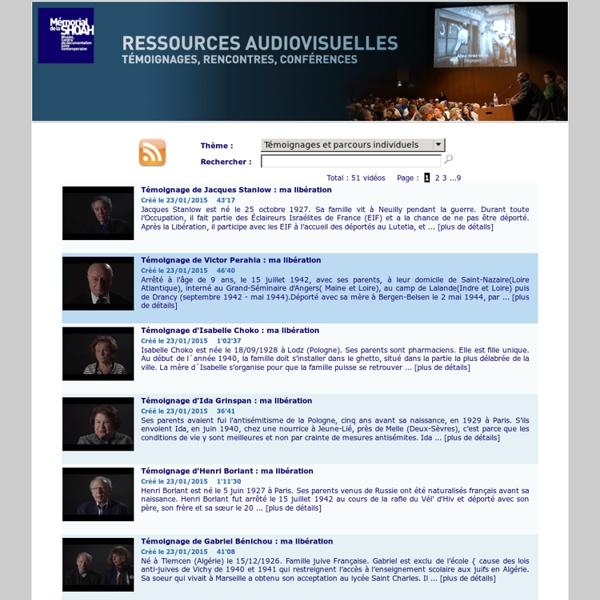 Ressources Audiovisuelles - Mémorial de la Shoah