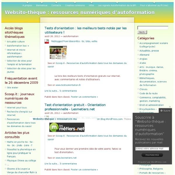 Websito-thèque : ressources numériques d'autoformation
