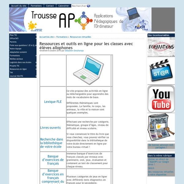 Ressources et outils en ligne pour les classes avec élèves allophones