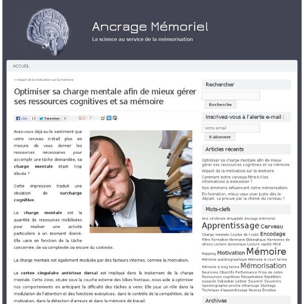 Ancrage Mémoriel » Optimiser sa charge mentale afin de mieux gérer ses ressources cognitives et sa mémoire