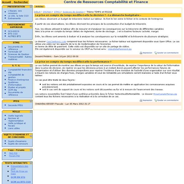Centre de Ressources Comptabilité et Finance (CRCF) - Economie et Gestion - BTS CGO, DCG, DSCG