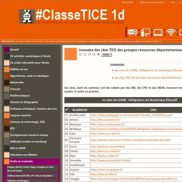 Classe TICE - Les sites TICE des groupes ressources départementaux