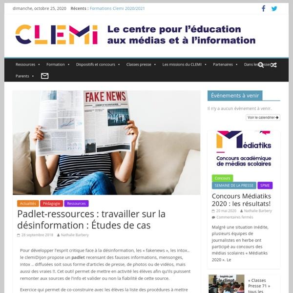 Padlet-ressources : travailler sur la désinformation : Études de cas