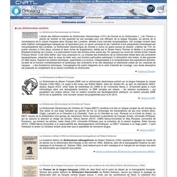 CNRTL - Ortolan : Les dictionnaires anciens