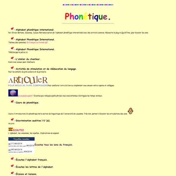 Ressources didactiques sur internet: phonétique. C. Vera.