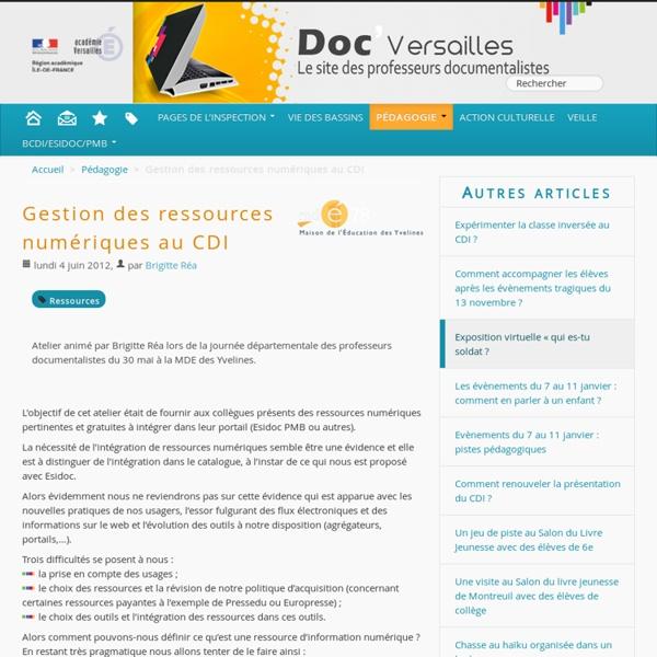 Gestion des ressources numériques au CDI