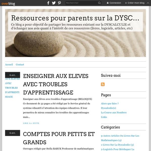 Ressources pour parents sur la DYSCALCULIE