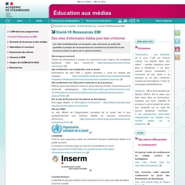 Covid-19 Ressources EMI - Éducation aux médias