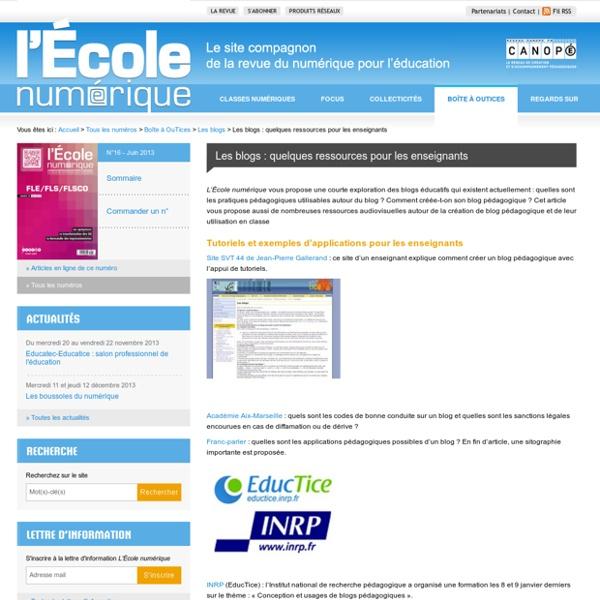 L'École numérique»Les blogs : quelques ressources pour les enseignants
