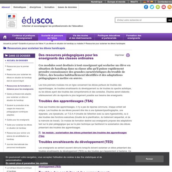 Ressources pour scolariser les élèves handicapés - Modules de formation à distance pour les enseignants