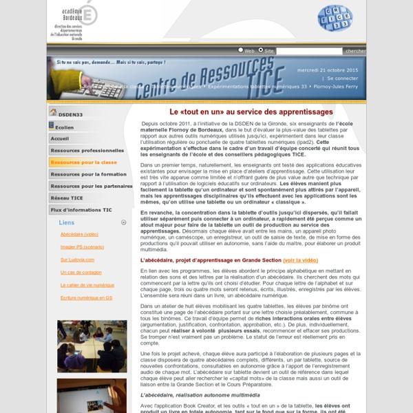 CRTICE > Ressources pour la classe > Tablettes numériques > Expérimentations tablettes numériques 33 > Flornoy-Jules Ferry