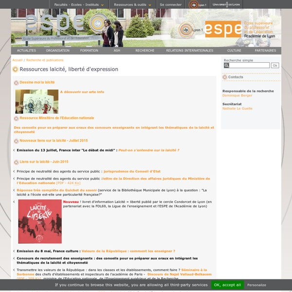 Ressources laïcité, liberté d'expression - ESPE Académie de Lyon