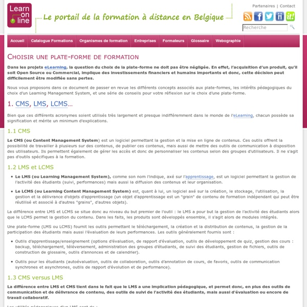Learn-on-line.be - Choisir une plate-forme de formation - Ressources_Formateurs - Formateurs