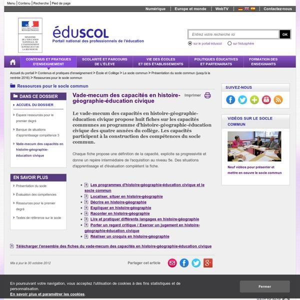 RUB. SITE Éduscol : Ressources pour le socle commun - Vade-mecum des capacités en histoire-géographie-éducation civique