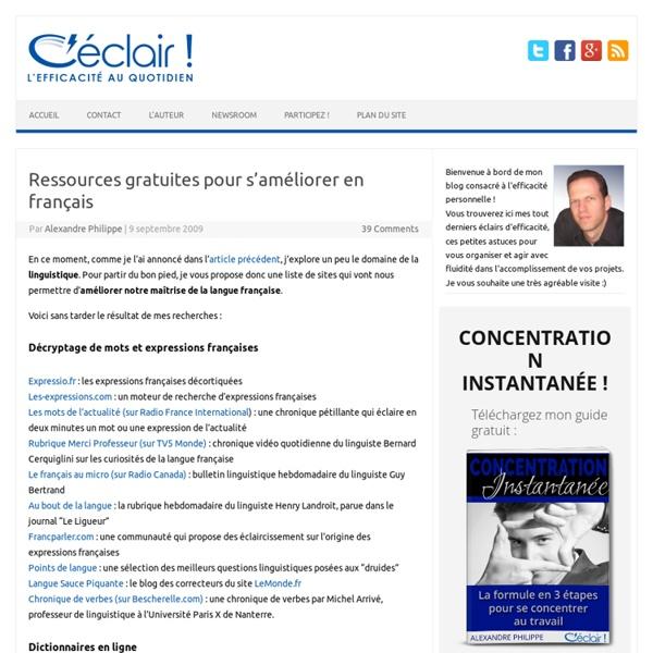 Ressources gratuites pour s'améliorer en français