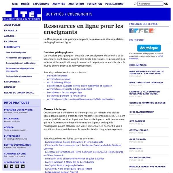 SITE Cité de l'architecture et du patrimoine : Ressources en ligne pour les enseignants