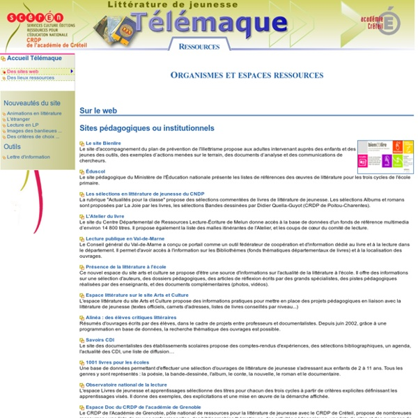 Des ressources internet en littérature de jeunesse