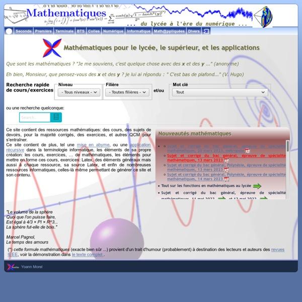 Ressources mathématiques: cours, exercices et devoirs corrigés, en ligne