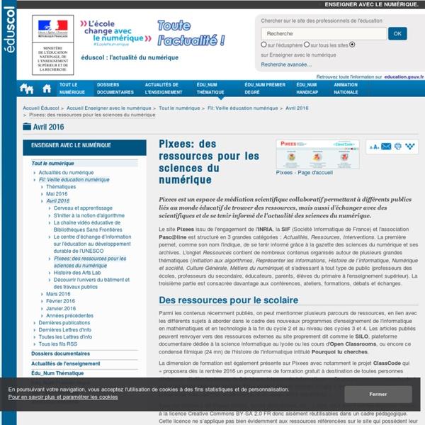 Pixees: des ressources pour les sciences du numérique — Enseigner avec le numérique