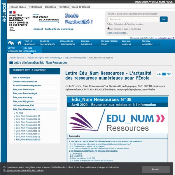 Lettre Édu_Num Ressources 09 : Continuité pédagogique - Covid-19