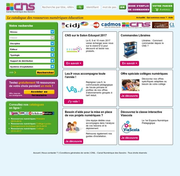 Cns, le catalogue des ressources numériques éducation