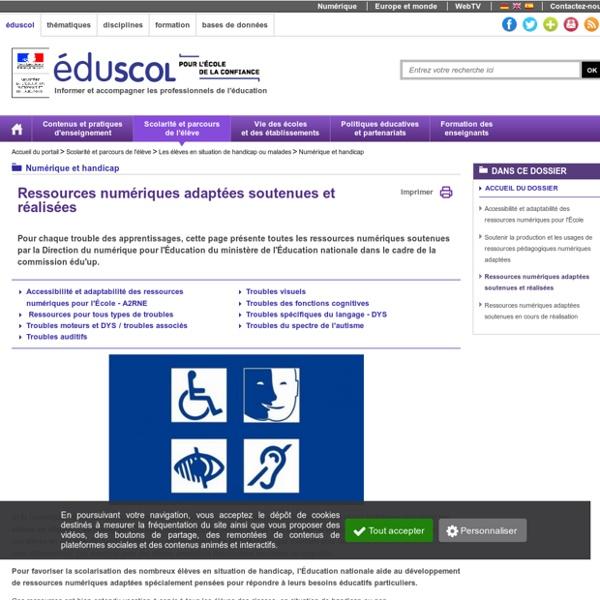 Numérique et handicap - Ressources numériques adaptées soutenues et réalisées
