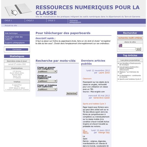 RESSOURCES NUMERIQUES POUR LA CLASSE