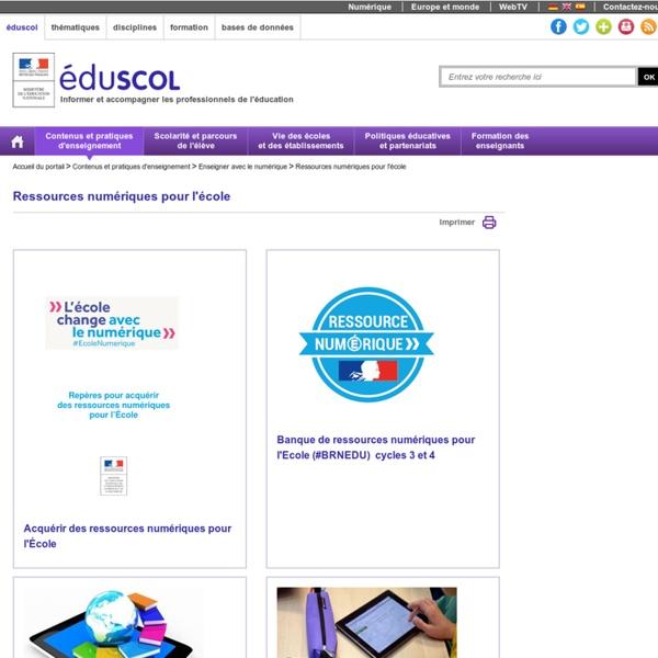 Ressources numériques pour l'école