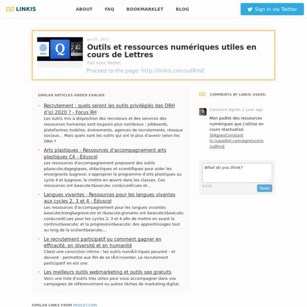 Outils et ressources numériques utiles en cours de Lettres - Linkis.com
