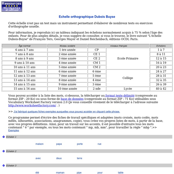 Ressources- Echelle orthographique Dubois Buyse